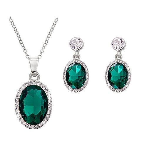 Omnichic Women Fashionable Oval Emerald Gemstone Pendant Necklace Earring Set