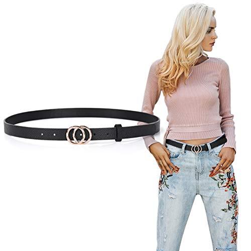 Women Leather Skinny Belt Double O Ring Buckle Fashion Belt, Whippy Thin Waist Dress Belt for Pants Jeans