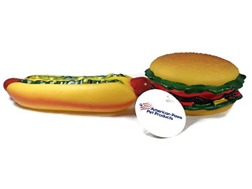 American Paws Pet Products Hot Dog Rubber Chew Squeak Toy