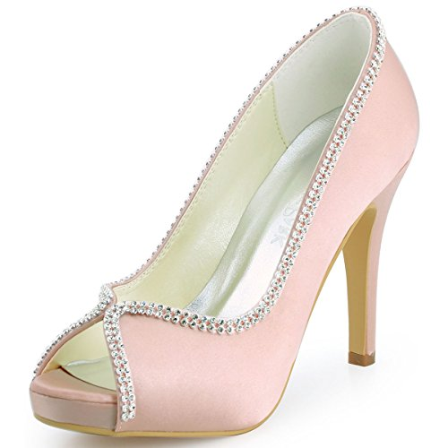 ElegantPark EP11083-IP Womens Prom Platform Satin Pumps Evening Shoes Pink US 9