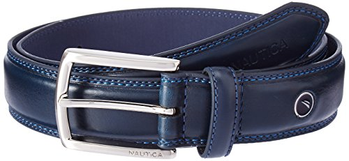 Nautica Men's Belt with Dress Buckle and Stitch Comfort,Navy,44