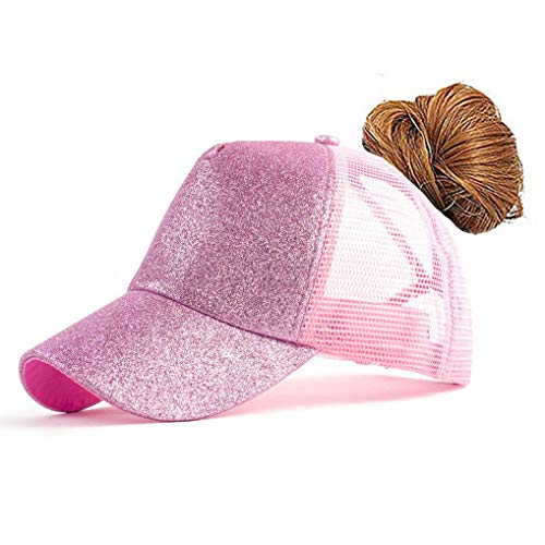 (FGSS Adjustable Ponytail Messy Buns Sequined Baseball Hat Pink)