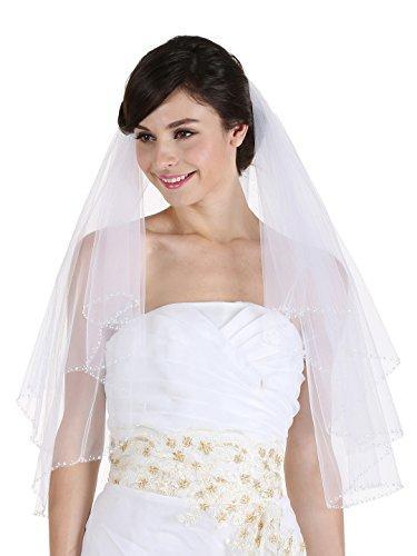 2T 2 Tier Sequin Beaded Edge Bridal Wedding VeiL (Elbow Length 30