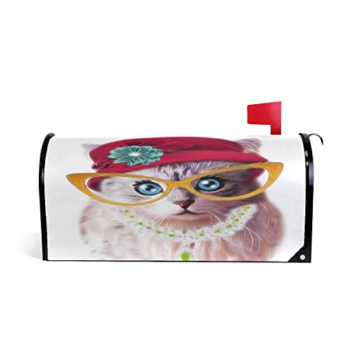 WOOR Funny Cat in Hat and Glasses Mailbox