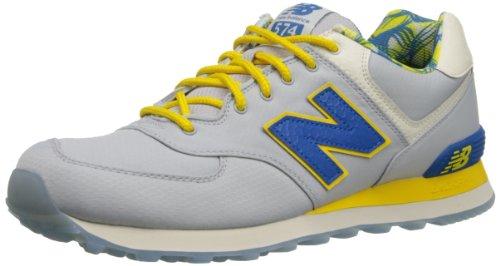 New Balance Men's ML574 Island Pack Running Shoe,Grey/Blue/Yellow,17 2E US