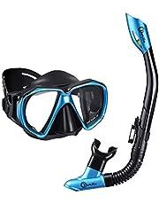 Dorlle Schnorchel Dry Schnorchelset Schnorchelmaske, Premium Erwachsene Schnorchel Tauchset mit Taucherbrille und Anti-Leck Anti-Fog Tauchmaske, Blau, Schwarz