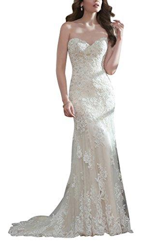 BRIDE herzfoermiger Meerjungfrau Elfenbein GEORGE Aermelloses Schultergurt Ausschnitt Abnehmbarer Hochzeitskleid PqnSxaWfw