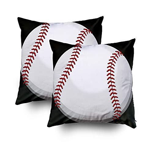 Shorping Zippered Pillow Covers Pillowcases 18X18Inch 2 Pack Halloween Baseball Fan Round Decorative Throw Pillow Cover Pillow Cases Cushion Cover for Home Sofa -