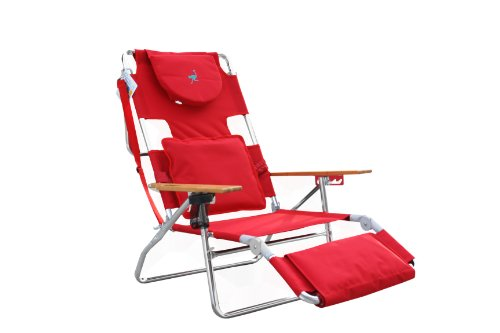 Red Ergo Fit Design - Ostrich Deluxe Padded Sport 3-in-1 Beach Chair, Red