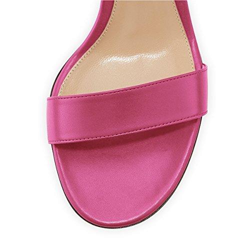 Fsj Donna Elegante Cinturino Alla Caviglia Open Toe Sandali Tacchi Chunky Comfort Scarpe Da Sera Party Taglia 4-15 Us Hot Pink