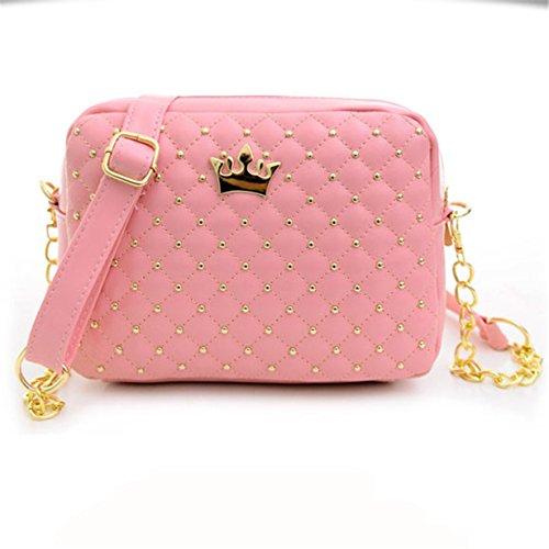 Yuan Clearance Women Messenger Bags Rivet Chain Shoulder Bag Leather Crossbody Handbag Pink