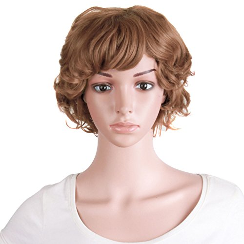 MapofBeauty 10 Inch/25cm Elderly Comparative Curly Short