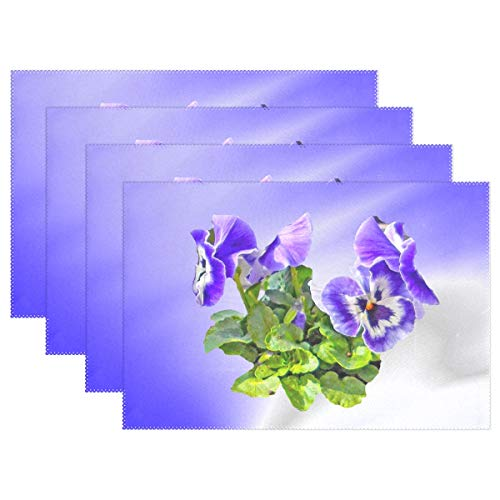 Pansy Flower Spring Blossom Bloom Purple Small Placemats Set Of 4 Heat Insulation Stain Resistant For Dining Table Durable Non-slip Kitchen Table Place Mats