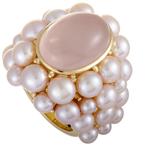 MiMi 18K Yellow Gold Rose Quartz Cabochon and Pink Pearl Cluster Ring