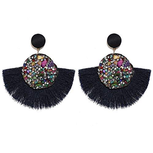 MOOCHI Denim Blue Druzy Round Fan Tassel Handmade Thread Ear Drop Dangle Bohemian Earrings ()