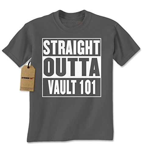 Expression Tees Mens Straight Outta Vault 101 T-Shirt XX-Large Charcoal Grey