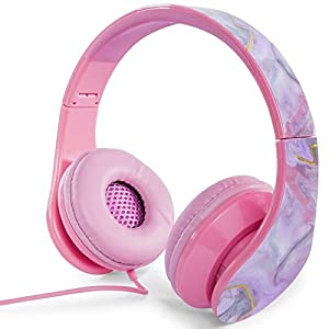 On Ear Pink Chandelier Foldable Headphones Pink Marble