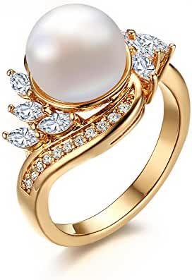18K Gold Plated Copper Cubic Zirconia Freshwater Cultured Pearl Ring Size 6-8