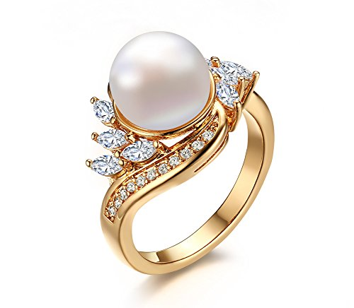 VNOX 18K Gold Plated Copper Cubic Zirconia Man-Made Pearl Ring for Engagement Wedding, Size 6