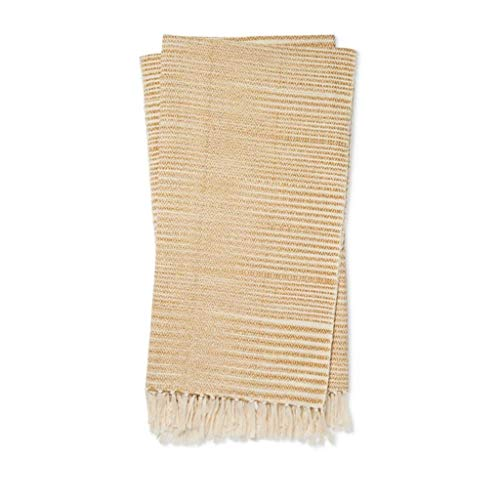 Magnolia Home Joanna Gaines Jane Cozy Throw Blanket in Gold/Ivory (Bedding Magnolia Joanna Gaines)