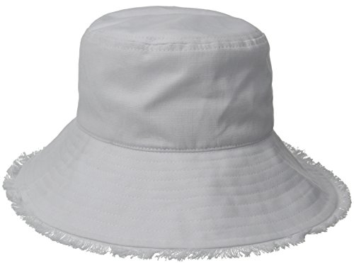 Physician Endorsed Women's Castaway Canvas Bucket Sun Hat with Fringe, Rated UPF 50+ for Max Sun Protection, White, One Size