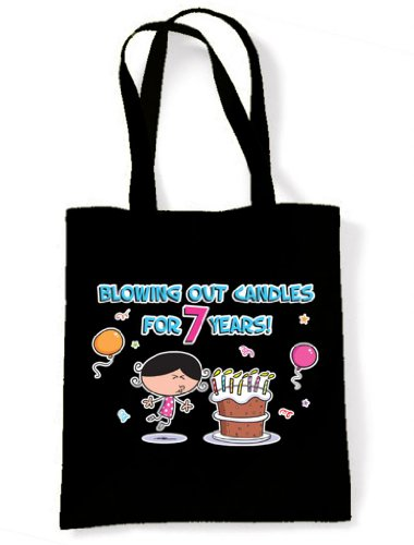 7th Black Birthday for Out Tote Years Candles 7 Bag Blowing Shoulder TnqFvfwAx