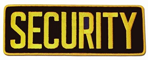 "Security Guard Officer Large Uniform Shirt Jacket Back Patch Emblem 11"" x 4"" w/ 3"" High GOLD letters on BLACK"