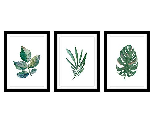 Canvas Wall Art Green Leaf With Black Frames Simple Life Watercolor Painting Picture Prints Contemporary Canvas Artworks Ready to Hang for Home Decoration Office Wall Decor 12