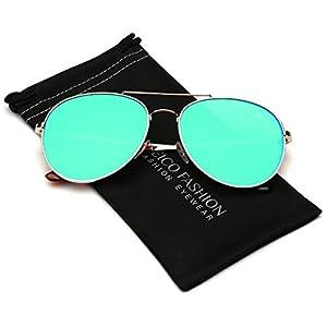 Flat Lens Oversized Mirrored Aviator Sunglasses (L-XL size head)