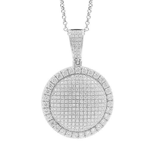 3.00 Carat 10kt White Gold Diamond Round Medallion Mens Hip Hop Pendant by Isha Luxe