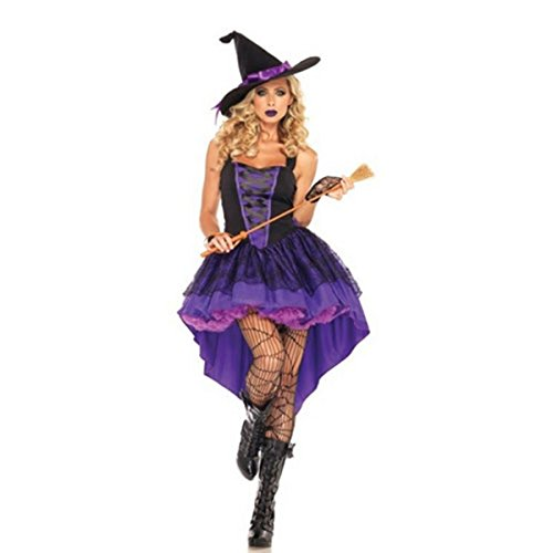Ladies size XXL Halloween Witch Dress Purple Party Dress Lace Skirt and a Hat (Wicked Witch Of The West Broom)