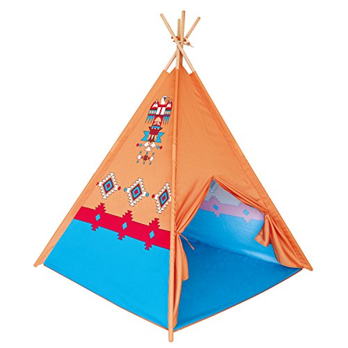 - POCO DIVO Eagle Teepee Tent Canvas Finish Kids Indoor Playhouse Children Outdoor Play Toy Tipi with Wood Poles