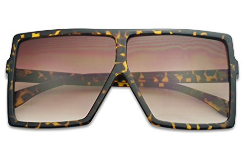 Two Tone Brown Plastic Sunglasses - Big XL Large Oversized Super Flat Top Square Two Tone Color Fashion Sunglasses (Tortoise/Brown Gradient Lens, 65)
