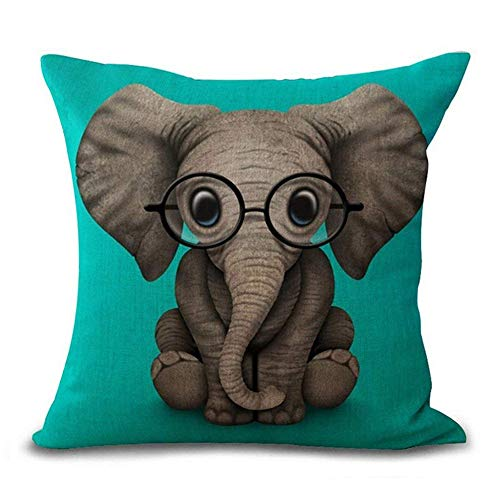 (Aremetop Lovely Animals Elephant Baby Wearing Glasses Cotton Linen Home Decor Pillowcase Throw Pillow Cushion Cover with Green Background 18 x 18 Inches for Baby' Room,Crib,Kindergarten (Elephant))