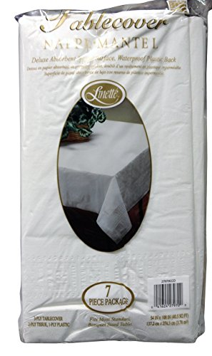 Linette 7 Piece 3-Ply Table Cover Absorbent Waterproof Plastic Back, White -