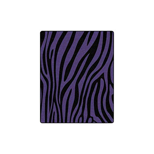 "INTERESTPRINT Purple Black Zebra Fleece Blanket Lightweight Cozy Plush Throw Blanket 40""x 50"""