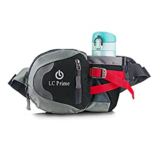 LC Prime® Waist Pack Running Bag Running Belt Runners Belt Bum Bag Fanny Pack Drink Pouch Chest Bag Sling Sports Water Resistant with Water Bottle (Not Included) Holder Drink Pouch for Hiking Cycling Camping Jogging Travel nylon fabric black 1