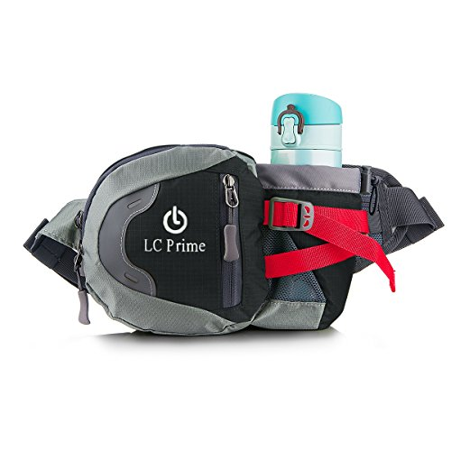 Waist Pack Fanny Pack Bum Bag Hip Pack Running Bag Waist Bag Running Belt Sack Water Resistant with Bottle (Not Included) Holder for Hiking Camping Dog Walking nylon fabric black, by LC Prime Man Treat Sacks