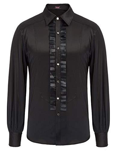 SCARLET DARKNESS Men Pirate Shirts Victorian Long Sleeve Ruffle Blouses Renaissance Costume Black 2XL]()