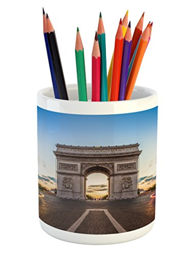 Ambesonne European Pencil Pen Holder, Paris Famous Champs Elysees Avenue Historical Monument French Culture Panorama, Printed Ceramic Pencil Pen Holder for Desk Office Accessory, Multicolor