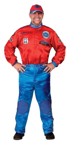 Red and Blue Junior Champion Car Racing Suit with Embroidered Cap, Size Adult Small