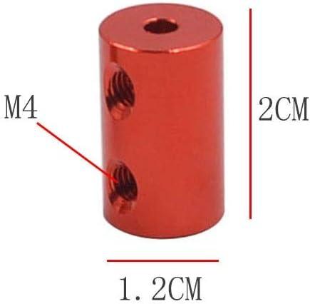 LKs Shop Coupling Shaft 1pc D12L20 Aluminum Alloy Coupling Bore 5x5mm 5x6mm Diameter 12mm Length 20mm 3D Print Part Flexible Shaft Coupler Stepper Motor Connection Color : Red 3.17x4