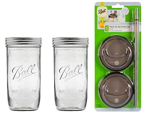 2 Glass Mason Drinking Jars with 2 Sip and Straw Lids (2, 24oz Jar)