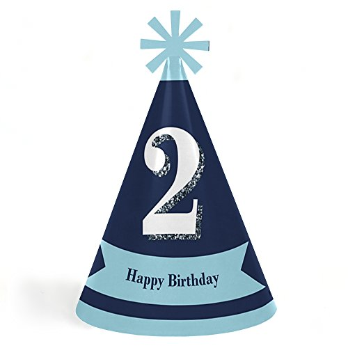 Price comparison product image 2nd Birthday Boy - Two Much Fun - Cone Happy Second Birthday Party Hats for Kids and Adults - Set of 8 (Standard Size)