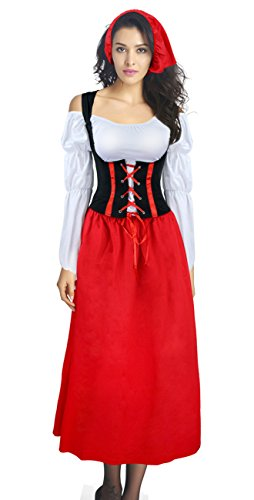 Tavern Maiden Costume (Kimring Women's Plus Size Renaissance Tavern Maiden Peasant Dress Costume Red XXX-Large)