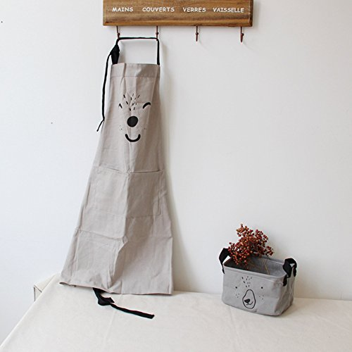 9OVE, Apron, Home Kitchen Tool, Parent-Child Cartoon Cookers Animal Print Cotton Linen - Grey Adult ()