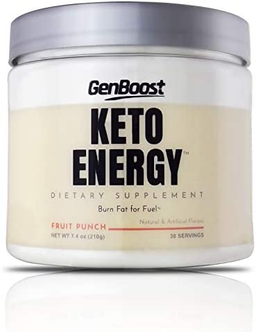 GenBoost – Keto Energy – 30 Day Energizing Drink 30 Servings – Powder Drink Mix to Reach Ketosis, Reduce Stress Boost Energy – Exogenous Ketones BHB Salts for Any Ketogenic Diet – Fruit Punch