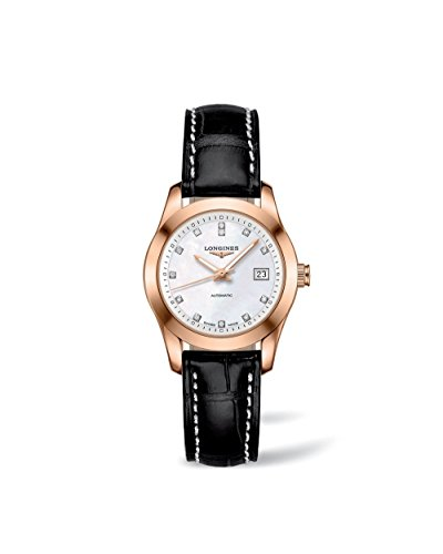 Longines-Conquest-Classic-Automatic-18k-Solid-Gold-Diamond-Markers-Mother-of-Pearl-Back-Exhibition-Womens-Watc