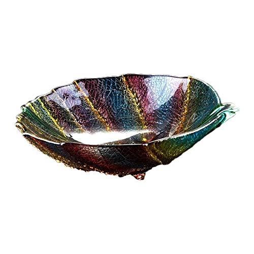 Creative Stained Glass Leaf Shape Fruit Salad Flat Bottom Bowl, Home Living Room Coffee Table Snacks Candy Dish Snack Storage Tray Home Decoration Ornaments (Color : B)
