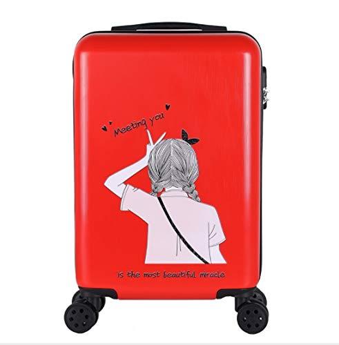 トロリーユニバーサルホイール漫画の子供のスーツケースの女性の韓国語バージョン24インチ20インチ26インチ (Color : Red, Size : L) L Red B07QFQGRKB